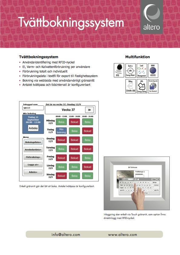Altero Produktblad - Tvättbokningsystem